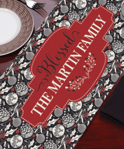 PIF-TR00027 Traditional Ornaments Custom Personalized Holiday Table Runner Table Accent by Personalize it FREE