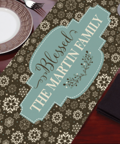 PIF-TR00028 Contemporary Brown Blue Snowflake Christmas Custom Personalized Holiday Table Runner Table Accent by Personalize it FREE