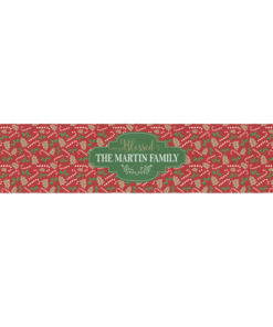 PIF-TR00029 Red & Green Candy Cane Christmas Custom Personalized Holiday Table Runner Table Accent by Personalize it FREE