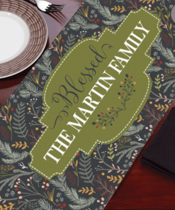 PIF-TR00030 Traditional Holly Floral Christmas Custom Personalized Holiday Table Runner Table Accent by Personalize it FREE