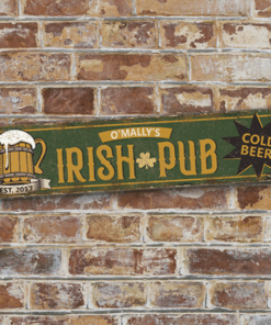 PIF-AS00001 Distressed Aluminum Personalized Irish Pub Street Sign for Man Cave, Game Room or Home Bar by Personalize it FREE