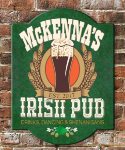 PIF-ASR00001 Drinks Dancing & Shenanigans Irish Pub Personalized Antique Style Wood Bar/Pub Sign by Personalize it FREE