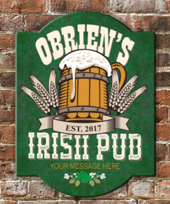 PIF-ASR00002 Traditional Beer Tavern Irish Pub Personalized Antique Style Wood Bar/Pub Sign by Personalize it FREE