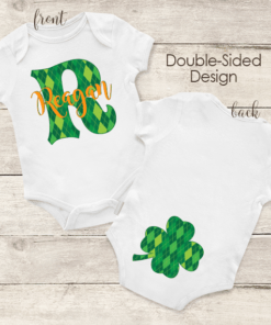 PIF-BO00030 St. Paddys Day Irish Shamrock Argyle Print Personalized Baby Onesie Bodysuit by Personalize it FREE
