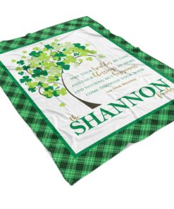 PIF-TB00003 Irish Blessing Shamrock Family Tree Personalized Fleece Throw Blanket by Personalize it FREE
