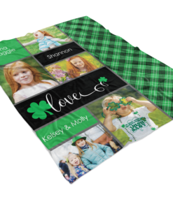 PIF-TB00004 Favorite Irish Faces Personalized Fleece Throw Photo Collage Blanket by Personalize it FREE