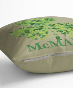 PIF-TP-10021 Custom Personalized Irish Family Name Shamrock Monogram Throw Accent Pillow Decor by Personalize it FREE