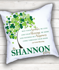 PIF-TP-10022 Custom Personalized Irish Blessing Family Name Shamrock Wedding Monogram Throw Accent Pillow Decor by Personalize it FREE