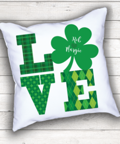 PIF-TP-10023 Custom Personalized LOVE Letters Family Name Shamrock Wedding Monogram Throw Accent Pillow Decor by Personalize it FREE