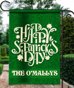 SGF-00110 Personalized Happy St. Paddy Patrick's Day Green Irish Custom Garden House Flag by Personalize it FREE