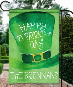 SGF-00113 Personalized St. Paddy Patrick's Day Green Leprechaun Top Hat Irish Custom Garden House Flag by Personalize it FREE
