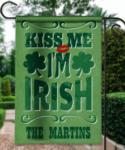 SGF-00114 Personalized St. Paddy Patrick's Day Green Kiss Me I'm Irish Custom Garden House Flag by Personalize it FREE