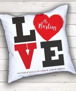 PIF-TP-10025 Mom's LOVE Letters Family Names Heart Monogram Throw Accent Pillow Decor by Personalize it FREE