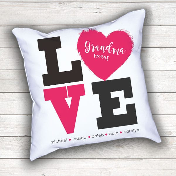 PIF-TP-10026 Grandma Means LOVE Word Art Family Names Heart Monogram Throw Accent Pillow Decor by Personalize it FREE
