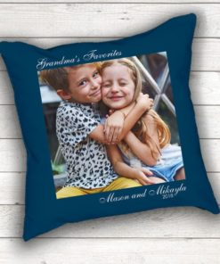 PIF-TP-10029 Grandma's Favorite Faces Keepsake Photo Throw Pillow Accent Pillow Decor by Personalize it FREE