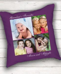 PIF-TP-10030 Grandma's Favorite Faces Keepsake Photo Throw Pillow Accent Pillow Decor by Personalize it FREE