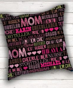 PIF-TP-10031 MOM Family Word Art Monogram Mothers Day Birthday Gift Keepsake Throw Accent Pillow Decor by Personalize it FREE