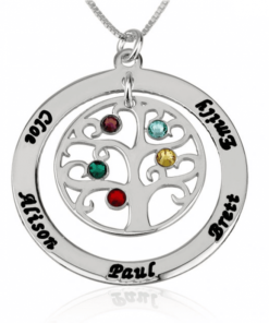 PIFON001565A Sterling Silver Family Tree Personalized Birthstone Necklace Mother Grandmother Gift by Personalize it FREE