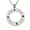 PIFON001661 Sterling Silver Circle of Love Personalized Birthstone Necklace Mother Grandmother Gift by Personalize it FREE