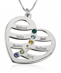 PIFON001667 Sterling Silver Engraved Heart Personalized Birthstone Necklace Mother Grandmother Gift by Personalize it FREE