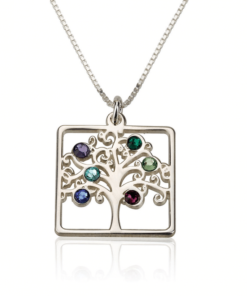 PIFON001720 Sterling Silver Moms Family Tree Personalized Birthstone Necklace Mother Grandmother Gift by Personalize it FREE
