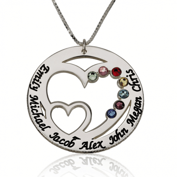 PIFON001779 Sterling Silver Engraved Heart Personalized Birthstone Necklace Mother Grandmother Gift by Personalize it FREE