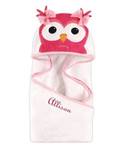 PIFWST262 Pink Owl Hooded Towel by Personalize it FREE