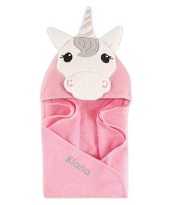 PIFWST267 Hooded Terry Baby Unicorn Face Towel by Personalize it FREE a