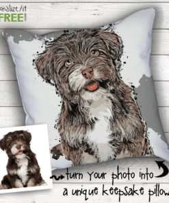 PIF-CAPP00002 Personalized Pop Art Pet Illustration PIllow Keepsake Memorial by Personalize it FREE