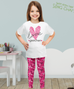 PK-KLS00001 Personalized Girls Leggings Set Pink Heart LOVE Sisters Siblings Twins Outfit Costume by Personalize it FREE