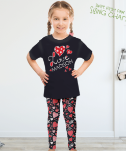 PK-KLS00002 Personalized Girls Leggings Set Red White Black Heart LOVE Sisters Siblings Twins Outfit Costume by Personalize it FREE