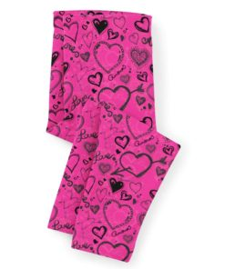 PK-KLS00004 Personalized Girls Leggings Set Pink & Black Heart LOVE Sisters Siblings Twins Outfit Costume by Personalize it FREE