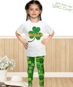 PK-KLS00009 Personalized Girls Leggings Set Green Shamrock St. Patrick's Day Sisters Siblings Twins Outfit Costume by Personalize it FREE