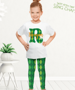 PK-KLS00010 Personalized Girls Leggings Set Green Argyle St. Patrick's Outfit Costume by Personalize it FREE