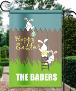 SGF-00141 Custom Personalized Garden House Flag Easter Bunny Happy Easter Spring Flag by Personalize it FREE