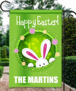SGF-00142 Custom Personalized Garden House Flag Easter Bunny Happy Easter Spring Flag by Personalize it FREE