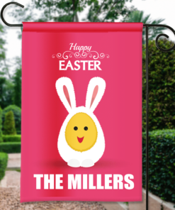 SGF-00144 Custom Personalized Garden House Flag Easter Bunny Happy Easter Spring Flag by Personalize it FREE