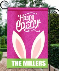 SGF-00145 Custom Personalized Garden House Flag Easter Bunny Happy Easter Spring Flag by Personalize it FREE