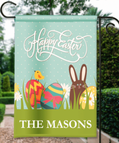 SGF-00146 Custom Personalized Garden House Flag Easter Bunny Happy Easter Spring Flag by Personalize it FREE