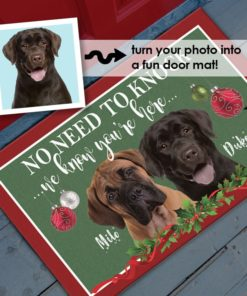 Christmas Holiday No Need to Knock, We Know You're Here Personalized Pet Dog Portrait Photo Door Mat by Personalize it FREE