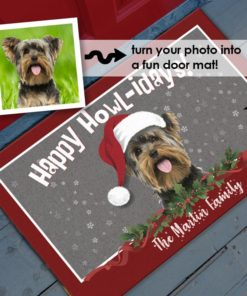 Merry Christmas Happy Holidays Happy Howl-idays Personalized Pet Dog Portrait Photo Door Mat by Personalize it FREE