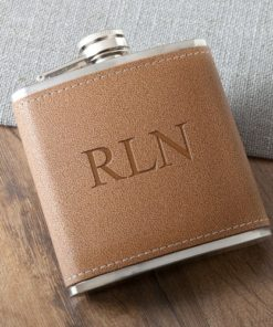 PIF-JDGC1027 Tan Hide Stitched Leather Stainless Steel Personalized Monogram Custom Flask Groomsmen Bridal Party Father of the Bride Groom Gift for Him by Personalize it FREE