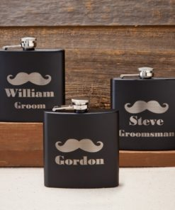 PIF-JDGC1224 Matte Black Mustache Stainless Steel Personalized Monogram Custom Flask Groomsmen Bridal Party Father of the Bride Groom Gift for Him by Personalize it FREE