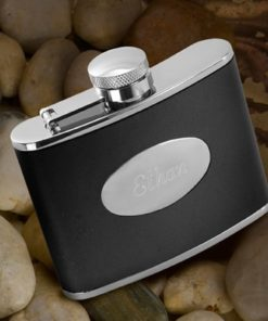 PIF-JDGC126 Classic Black Leather Personalized Stainless Steel 4oz Flask Groomsmen Bridal Party Gift for Him by Personalize it FREE