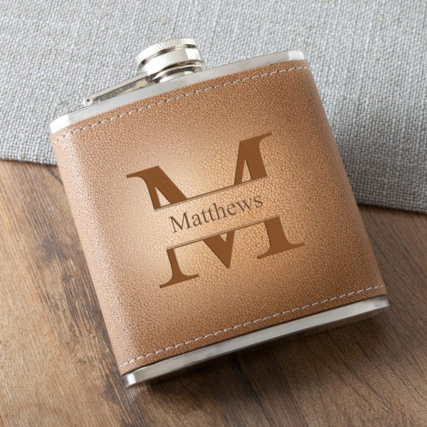PIF-JDGC1393 Tan Leather Stitched Hide Stainless Steel Personalized Monogram Custom Flask Groomsmen Bridal Party Father of the Bride Groom Gift for Him by Personalize it FREE