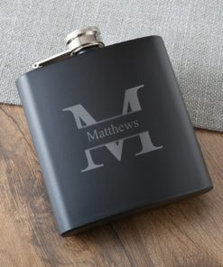 PIF-JDGC1394 Black Matte Monogram Stainless Steel Personalized Monogram Custom Flask Groomsmen Bridal Party Father of the Bride Groom Gift for Him by Personalize it FREE