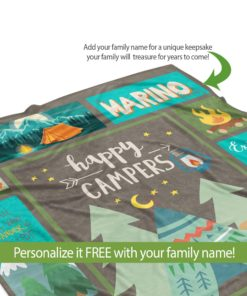 PIF-TB0008 Happy Campers Personalized Camping Throw Blanket for RV Camper Trailer by Personalize it FREE