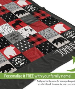 PIF-TB0009 Woodland Creatures Plaid Moose and Bears Explore More Personalized Camping Throw Blanket for RV Camper Trailer by Personalize it FREE