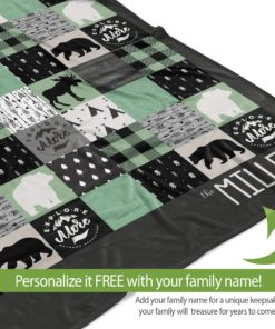 PIF-TB0010 Woodland Creatures Plaid Moose and Bears Explore More Personalized Camping Throw Blanket for RV Camper Trailer by Personalize it FREE