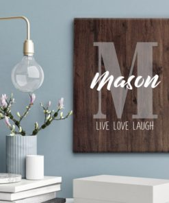 CAN00002 Family Name Monogram Personalized Live Love Laugh Canvas Wall Art Custom Print Wedding Anniversary Housewarming Gift Idea by Personalize it FREE